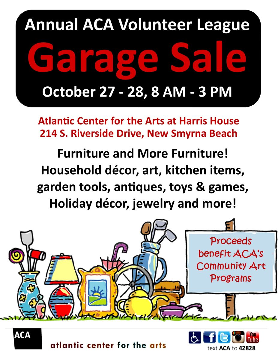 annual aca volunteer league garage sale atlantic center for the arts