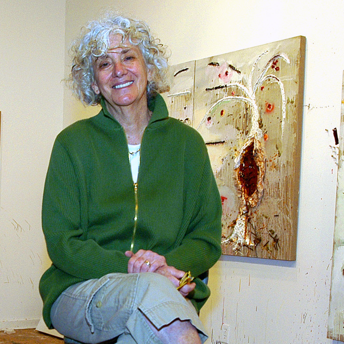 Joan Snyder in the studio at her home in Willow, New York, Thursday, September 20, 2007. (AP Photo/Stewart Cairns)