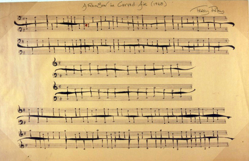 Terry Riley's autograph score for A Rainbow in Curved Air